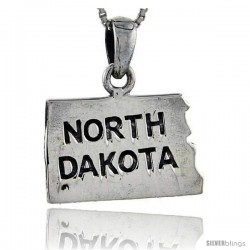 Sterling Silver North Dakota State Map Pendant, 1 1/16 in tall