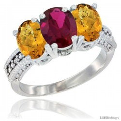 14K White Gold Natural Ruby Ring with Whisky Quartz 3-Stone 7x5 mm Oval Diamond Accent