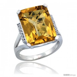 14k White Gold Diamond Whisky Quartz Ring 12 ct Emerald Cut 16x12 stone 3/4 in wide