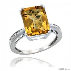 14k White Gold Diamond Whisky Quartz Ring 5.83 ct Emerald Shape 12x10 Stone 1/2 in wide -Style Cw426149