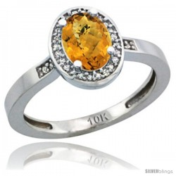 14k White Gold Diamond Whisky Quartz Ring 1 ct 7x5 Stone 1/2 in wide