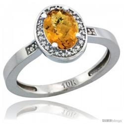 14k White Gold Diamond Whisky Quartz Ring 1 ct 7x5 Stone 1/2 in wide