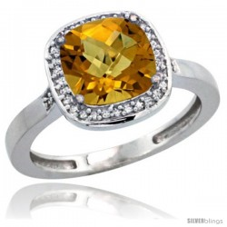 14k White Gold Diamond Whisky Quartz Ring 2.08 ct Checkerboard Cushion 8mm Stone 1/2.08 in wide