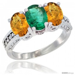 14K White Gold Natural Emerald Ring with Whisky Quartz 3-Stone 7x5 mm Oval Diamond Accent