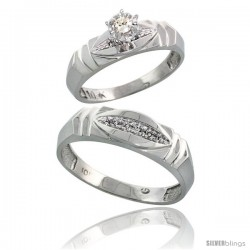 Sterling Silver 2-Piece Diamond Ring Set ( Engagement Ring & Man's Wedding Band ), w/ 0.07 Carat Brilliant Cut Diamonds, ( 5mm