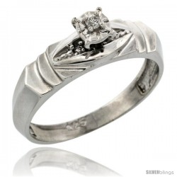 Sterling Silver Diamond Engagement Ring, w/ 0.04 Carat Brilliant Cut Diamonds, 3/16 in. (5mm) wide