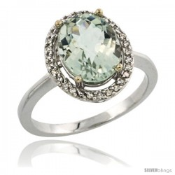 Sterling Silver Diamond Natural Green Amethyst Ring Ring 2.4 ct Oval Stone 10x8 mm, 1/2 in wide -Style Cwg02114