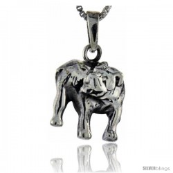 Sterling Silver Bulldog Pendant, 1 in tall