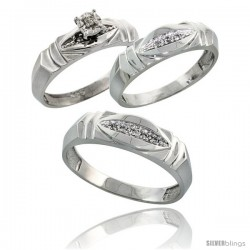 Sterling Silver 3-Piece Trio His (6mm) & Hers (5mm) Diamond Wedding Band Set, w/ 0.09 Carat Brilliant Cut Diamonds
