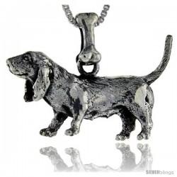 Sterling Silver Basset Hound Dog Pendant