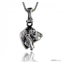 Sterling Silver Basset Hound Dog Pendant -Style Pa1036