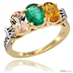 10K Yellow Gold Natural Morganite, Emerald & Whisky Quartz Ring 3-Stone Oval 7x5 mm Diamond Accent
