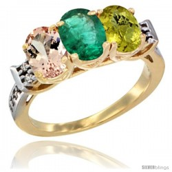 10K Yellow Gold Natural Morganite, Emerald & Lemon Quartz Ring 3-Stone Oval 7x5 mm Diamond Accent