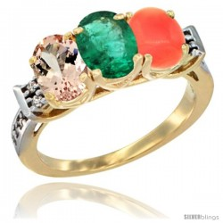 10K Yellow Gold Natural Morganite, Emerald & Coral Ring 3-Stone Oval 7x5 mm Diamond Accent
