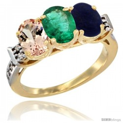 10K Yellow Gold Natural Morganite, Emerald & Lapis Ring 3-Stone Oval 7x5 mm Diamond Accent