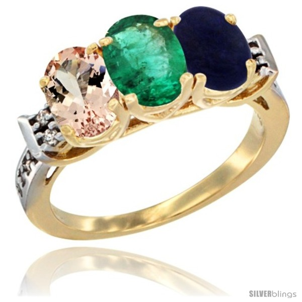 https://www.silverblings.com/63230-thickbox_default/10k-yellow-gold-natural-morganite-emerald-lapis-ring-3-stone-oval-7x5-mm-diamond-accent.jpg