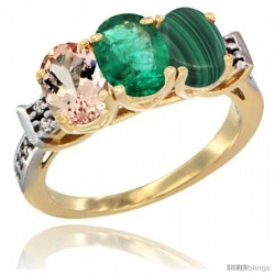 10K Yellow Gold Natural Morganite, Emerald & Malachite Ring 3-Stone Oval 7x5 mm Diamond Accent