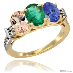 10K Yellow Gold Natural Morganite, Emerald & Tanzanite Ring 3-Stone Oval 7x5 mm Diamond Accent