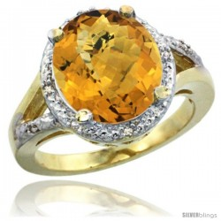 14k Yellow Gold Ladies Natural Whisky Quartz Ring oval 12x10 Stone Diamond Accent