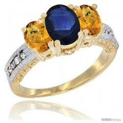 14k Yellow Gold Ladies Oval Natural Blue Sapphire 3-Stone Ring with Whisky Quartz Sides Diamond Accent