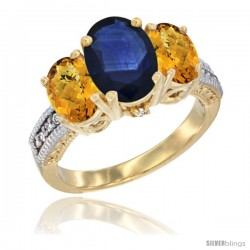 14K Yellow Gold Ladies 3-Stone Oval Natural Blue Sapphire Ring with Whisky Quartz Sides Diamond Accent