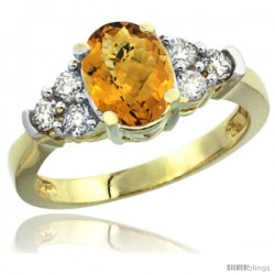 14k Yellow Gold Ladies Natural Whisky Quartz Ring oval 9x7 Stone Diamond Accent
