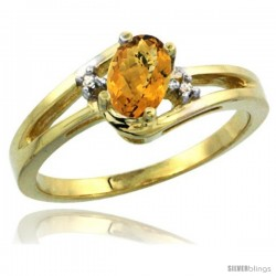 14k Yellow Gold Ladies Natural Whisky Quartz Ring oval 6x4 Stone Diamond Accent -Style Cy426165