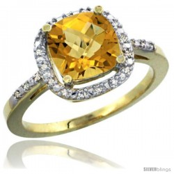 14k Yellow Gold Ladies Natural Whisky Quartz Ring Cushion-cut 3.8 ct. 8x8 Stone Diamond Accent