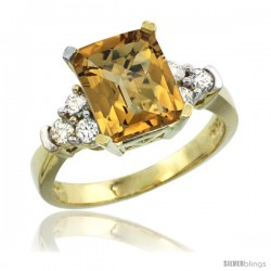 14k Yellow Gold Ladies Natural Whisky Quartz Ring Emerald-shape 9x7 Stone Diamond Accent
