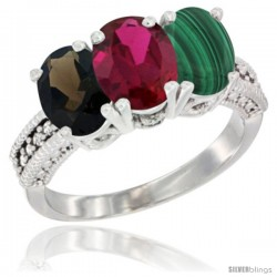 14K White Gold Natural Smoky Topaz, Ruby & Malachite Ring 3-Stone 7x5 mm Oval Diamond Accent