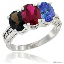 14K White Gold Natural Smoky Topaz, Ruby & Tanzanite Ring 3-Stone 7x5 mm Oval Diamond Accent