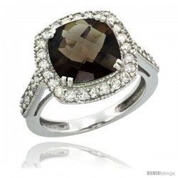 14k White Gold Diamond Halo Smoky Topaz Ring Checkerboard Cushion 9 mm 2.4 ct 1/2 in wide