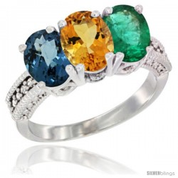 10K White Gold Natural London Blue Topaz, Citrine & Emerald Ring 3-Stone Oval 7x5 mm Diamond Accent