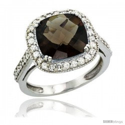 14k White Gold Diamond Halo Smoky Topaz Ring Cushion Shape 10 mm 4.5 ct 1/2 in wide