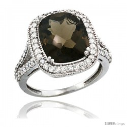 14k White Gold Diamond Halo Smoky Topaz Ring Checkerboard Cushion 12x10 4.8 ct 3/4 in wide