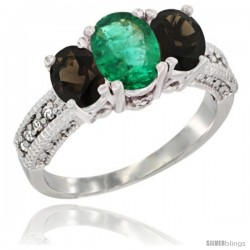 14k White Gold Ladies Oval Natural Emerald 3-Stone Ring with Smoky Topaz Sides Diamond Accent