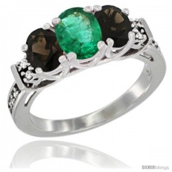 14K White Gold Natural Emerald & Smoky Topaz Ring 3-Stone Oval with Diamond Accent