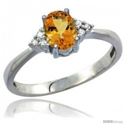 10k White Gold Natural Citrine Ring Oval 7x5 Stone Diamond Accent