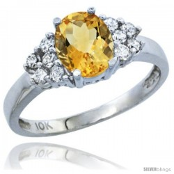 10k White Gold Natural Citrine Ring Oval 8x6 Stone Diamond Accent