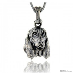 Sterling Silver Basset Hound Dog Pendant -Style Pa1037