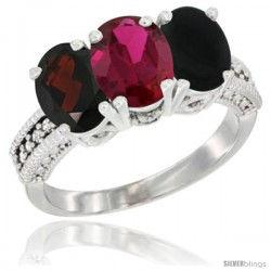 14K White Gold Natural Garnet, Ruby & Black Onyx Ring 3-Stone 7x5 mm Oval Diamond Accent