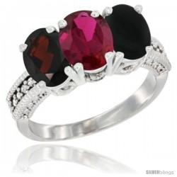 14K White Gold Natural Garnet, Ruby & Black Onyx Ring 3-Stone 7x5 mm Oval Diamond Accent