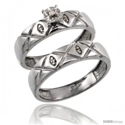 Sterling Silver 2-Pc Diamond Engagement Ring Set w/ 0.043 Carat Brilliant Cut Diamonds, 5/32 in. (4.5mm) wide