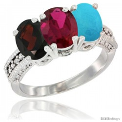 14K White Gold Natural Garnet, Ruby & Turquoise Ring 3-Stone 7x5 mm Oval Diamond Accent