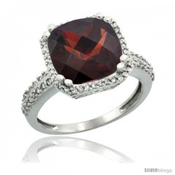 14k White Gold Diamond Halo Garnet Ring Checkerboard Cushion 11 mm 5.85 ct 1/2 in wide