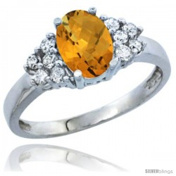 14k White Gold Ladies Natural Whisky Quartz Ring oval 8x6 Stone Diamond Accent
