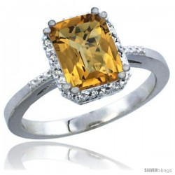 14k White Gold Ladies Natural Whisky Quartz Ring Emerald-shape 8x6 Stone Diamond Accent