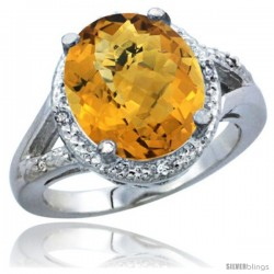 14k White Gold Ladies Natural Whisky Quartz Ring oval 12x10 Stone Diamond Accent