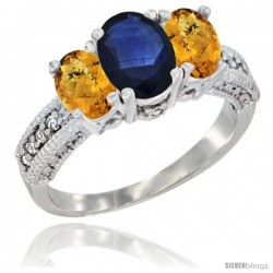 14k White Gold Ladies Oval Natural Blue Sapphire 3-Stone Ring with Whisky Quartz Sides Diamond Accent