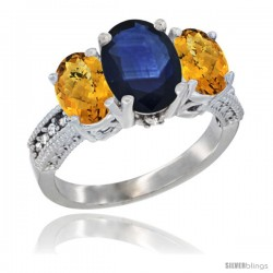 14K White Gold Ladies 3-Stone Oval Natural Blue Sapphire Ring with Whisky Quartz Sides Diamond Accent